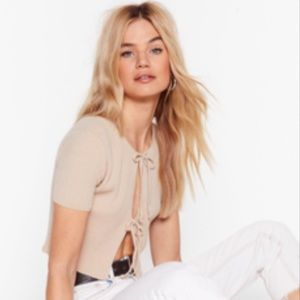 NWT Nasty Gal Double Tie Front Knitted Cardigan